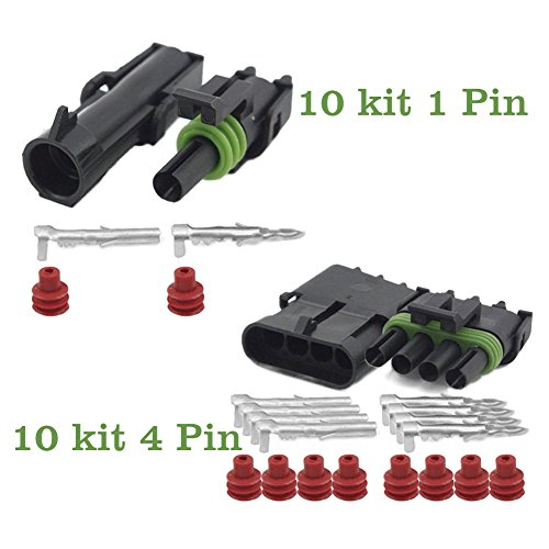OxoxO Waterdichte elektrische kabelverbinder, 20-14 AWG, voor motorfiets, scooter, auto, vrachtwagen, quad, driewieler, caravan, jetski, boten enz. 1+4