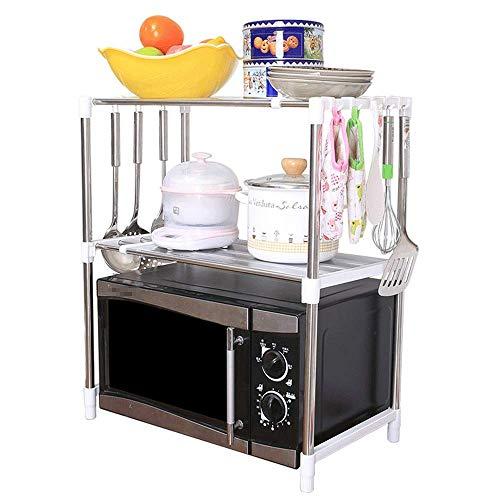 SUNTAOWAN Cocina Microondas Estante Estantería 2-Tier Plataforma de Almacenamiento Ajustable de Acero Inoxidable con 8 Ganchos (Color: Plata, Tamaño: 90X30.5X62.8CM)