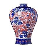 LLSS Jarrones de cerámica de Estilo Chino con dragón y Fénix, jarrones Chinos Pintados a Mano, artesanías y Regalos Ligeros de Lujo, A