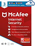 mcafee internet security 2021, 3 dispositivi, 1 anno, software antivirus, gestore di password, sicurezza mobile , pc/mac/android/ios , edizione europea, codice d'attivazione via email