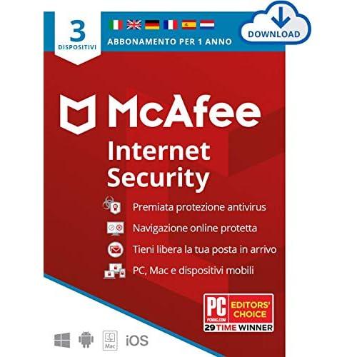 McAfee Internet Security 2021, 3 Dispositivi, 1 Anno, Software Antivirus, Gestore di Password, Sicurezza Mobile , PC/Mac/Android/iOS , Edizione Europea, Codice d'Attivazione via Email