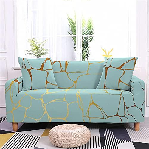 Meiju Funda de Sofá Elástica Universal Ajustable 3D Jaspeado Estampada Cubre Sofa con 1 Funda de Cojín, Antisuciedad Antideslizante Protector de Muebles (Verde,4 plazas)