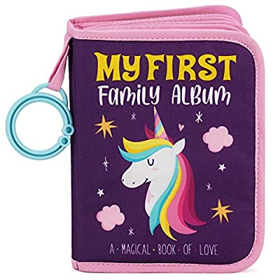 Urban Kiddy Baby's My First Family Album | Soft Photo Cloth Book Gift Set for Newborn Toddler & Kids (Unicorn)