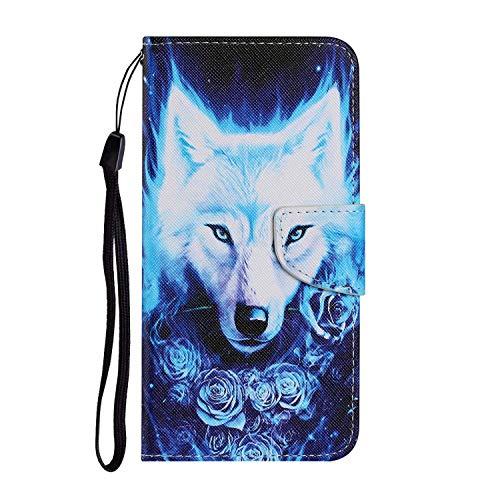 Miagon für iPhone 11 Pro Hülle,Bunt Muster Handytasche Flip Case PU Leder Cover Magnet Schutzhülle Ständer mit Kartenfach Magnetisch,Rose Wolf