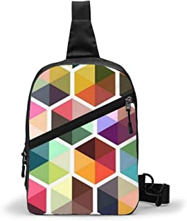 Geométrico moderno colorido paquete de pecho multipropósito Crossbody bolso de hombro al aire libre mochila mochila de gran capacidad casual deporte mochila para senderismo viaje deporte