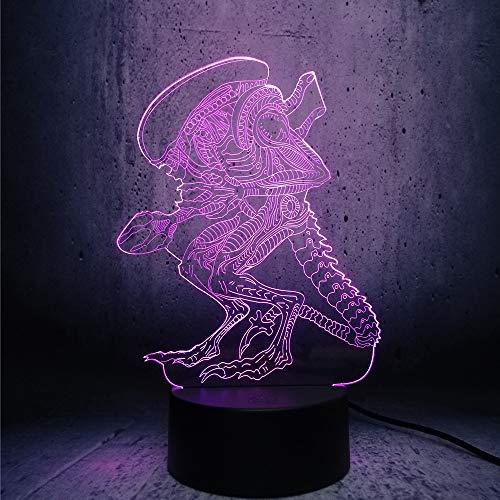 Aliens en roofdieren 3D-lamp bedlampje, nachtlampje voor de kinderkamer, led-lamp voor de woonkamer perfect cadeau voor kinderen