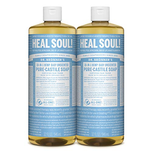 commercial Made from Dr. Bronner's-pure Castile liquid soap (unscented, 32 ounces, 2 packs) -… dr bronners soap