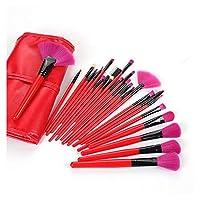 ギフトバッグ24ブラシセット、プロのメイクブラシメイク眉パウダーシャドウツール (Handle Color : Red)
