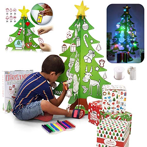 PickMe DIY Craft Christmas Tree for Kids   Mini 3D Coloring Xmas Tree with 24 Ornaments, 12 Washable Markers, 4 Gift Boxes, 3M LED Strip Light   for Home & Classroom (6Pcs 2.95ft)