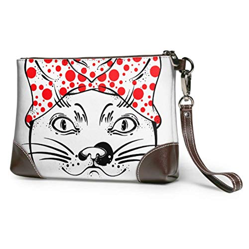 Holuday Soft Waterproof Wristlet Pouch Wallet Cat Amulet Tattoo Leather Wallet Clutch With Zipper For Women Girls