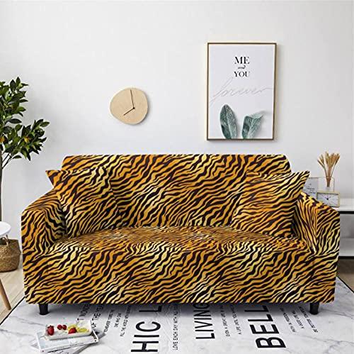 Fundas de Sofá Elasticas 2 Plazas Protector de sofá Funda Sofá Estampado Antideslizante Funda Elástico Universal Ajustables Protector Cubierta de Muebles,Leopardo Tigre