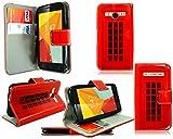 Para Vodafone Smart Mini 7nueva Premium funda de piel con tapa tipo cartera para teléfono móvil funda + Protector de pantalla, piel sintética, Telephone Booth Print, For Vodafone Smart Mini 7