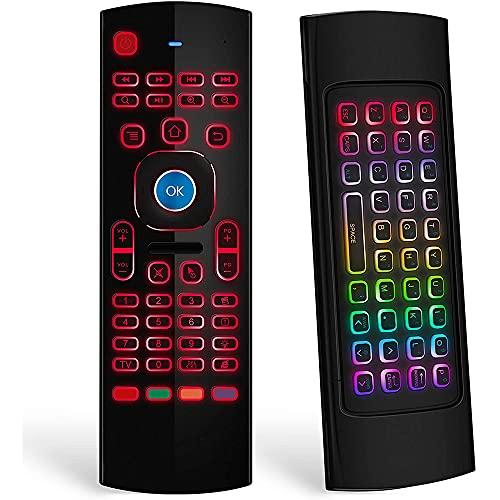Fauge RatóN de Aire para Android TV Box, Teclado InaláMbrico RatóN Remoto de Aire Control con Aprendizaje IR MX3 con RetroiluminacióN RGB
