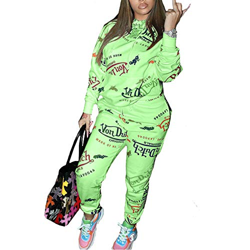 Yeshire Womens 2 Piece Outfit Pullover Hoodie Pockets Sweatpants Sport Jogger Sweatsuit Tracksuits Jumpsuits Small Green 02