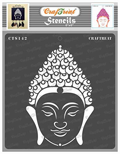 CrafTreat Buddha Stencils for Painting on Wood, Canvas, Paper, Fabric, Floor, Wall and Tile - Buddha 2 - 6x6 Inches - Reusable DIY Art and Craft Stencils for Home Decor - Buddha Face Stencils