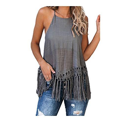 NOBRAND Tank-T-Shirt für Damen, einfarbig, Straps-Hose, vielseitiges Top Gr. XXL, grau