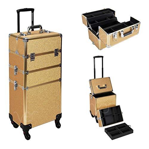 Ver Beauty 4 Wheels Removable Rolling Art Craft Tool Case Storage Organizer Travel Adjustable Dividers – VT003, Gold Glitter