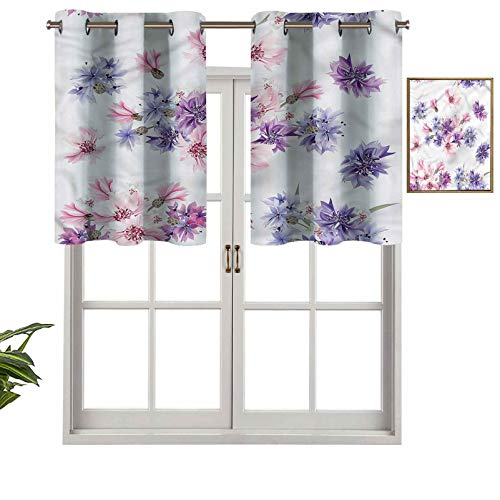 Hiiiman Romantic Floral Window Curtain Eyelet Curtain 36' x 18' for Bedroom, Kitchen or Bathroom