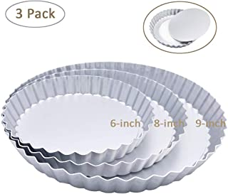 3 Pack(6, 8, 9 Inch) Tart Pan and Quiche Pan with Removable Base Bottom (Silver Color)