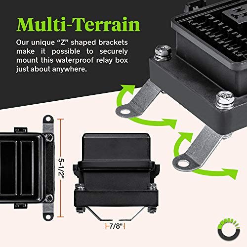 12V Auto Waterproof Fuse Relay Box Block [6 Bosch Style Relay Holder] [6 ATC/ATO Fuse Holder] Universal Relay Block Box for 12V Automotive Vehicles Cars Marine Boat Jeep Light Equipment