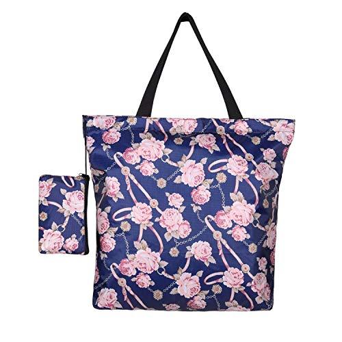 Bolsa de compras reutilizable, BOJLY bolsa de playa impermeable, Tote Bag Mamá Bolsa de nylon plegable con cartera y cremallera para compras, viajes y picnic, etc.