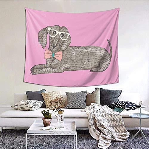 Tapiz de salchicha con gafas, manta de pared, tapiz, decoración de dormitorio, sala de estar, estampado (60 x 129,5 cm), estilo retro, color negro