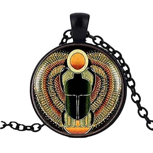 Gargantilla de cristal redondo con colgante de escarabajo egipcio, joyería egipcia antigua, collar de Egipto, joyería egipcia para las mujeres