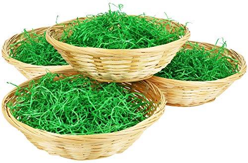 com-four® 4X Osterkörbchen mit Deko Gras - Osterkörbe mit grünem Gras - Bastkorb mit Ostergras (004 Stück - Korb mit Gras)