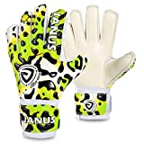 Soccer Goalie Gloves Goalkeeper Gloves with Fingersave , 3.5mm Strong Grip German Latex, Double Rip-Tab Strap, Size 4-7,Keeper Gloves for Kids, Youth (Green Leopard, 5)