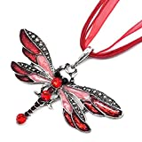 Tvoip Fashion Creative Bohemian Jewelry Ethnic Multi-Layer Chain Colorful Enamel Dragonfly Pendant Necklace (Red)