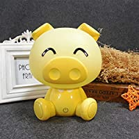 電気スタンド 子供用ルームの寝室の装飾ベッドサイドライトテーブルランプタッチ薄暗いUSB LEDナイトランプ (Emitting Color : Yellow pig, Plug Type : US)