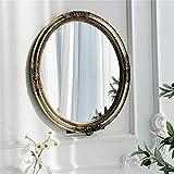 HAOYANGDE 29.5 x 35cm Espejo de pared decorativo de la vendimia ovalada, marco de resina de oro, decoración antigua para dormitorio, sala de juegos, cómodas, espejos de vestir de sala de estar, código