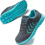 DUOYANGJIASHA Women's Athletic Road Running Mesh Breathable Casual Sneakers Lace Up Comfort Sports Student Fashion Tennis Shoes Dark Gray