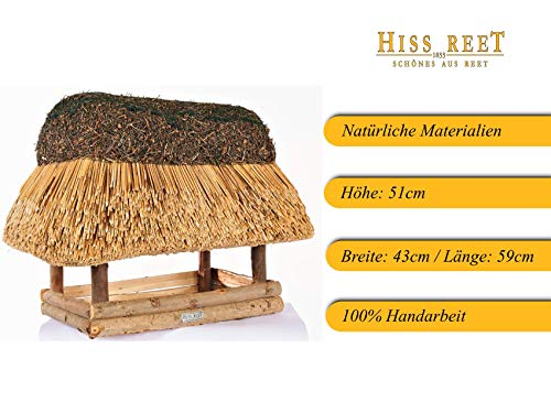 Vogelhaus mit Reetdach Futterhaus Futterstation – eckig – traditionell eingedeckt - 5