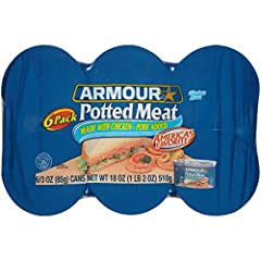Includes one 18-ounce can of Armour Star Potted Meat Made with chicken and pork, enjoy this delicious and convenient canned potted meat Spread Armour Potted Meat on crackers or add it to sandwiches Ready to Eat: Add to your canned-food supply for sur...