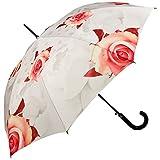 VON LILIENFELD® Ombrello Pioggia Lungo Classico Automatico Donna Fiore Rose, crema