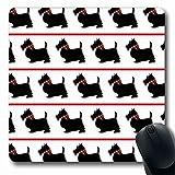 Luancrop Alfombrillas Collar Escocés Escocés Negro Perros Perro Rojo Se inclina sobre Terrier Patrón Retro Diseño Raza Antideslizante Gaming Mouse Pad Alfombra de Goma Oblonga