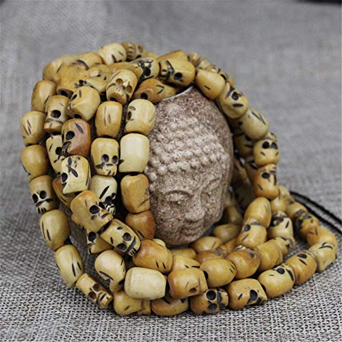 ASFADSFH Natural Retro Yak Bone Buddha Beads Cráneo Tallado a Mano 108 Cuentas Mala Pulseras Cuentas Accesorios de Bricolaje Talla de Hueso Hombres Joyería11x13mm