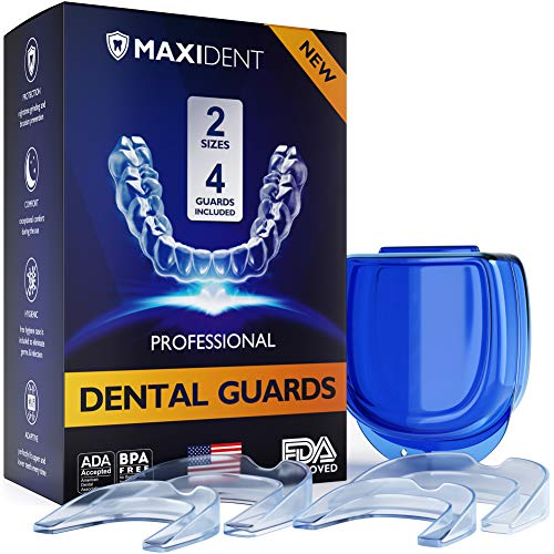MAXIDENT Mouthguard - Advanced Dental Guards - Moldable Night Guard for Grinding Teeth, Bruxism, Clenching and Whitening - Made in USA - Premium Dental Protection - Include Pack of 4 - Two Sizes