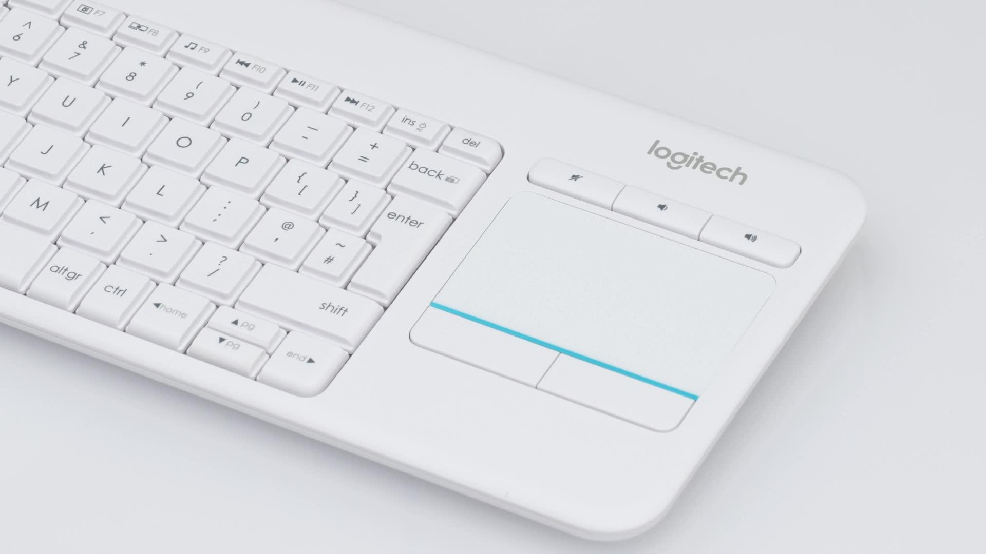 Logitech K400 Plus Teclado Inalámbrico con Touchpad para Televisores, Disposición QWERTY Inglés, Blanco