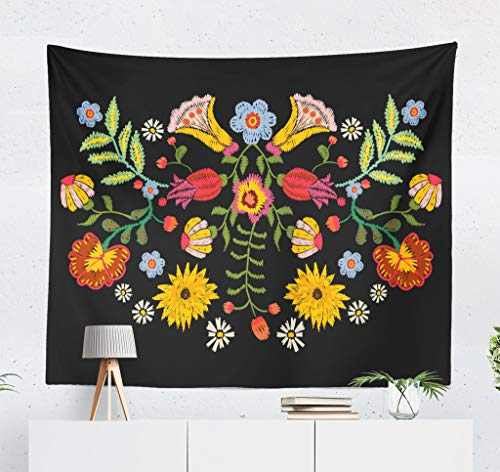 Darkchocl Bright Floral Pattern Decorative Tapestry Ethnic with Colorful Flowers Traditional Floral for Bedroom Living Kids Girls Boys Room Wall Hanging Tapestry 100 Polyester 80 L X 60 W