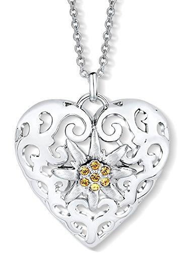 Edelweiss Herz Halskette mit Swarovski® Kristallen