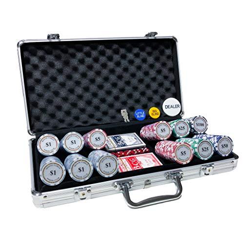 【ヨロズラボ】ポーカーセット チップ 300枚 アルミケース付 (300枚 数字入り)