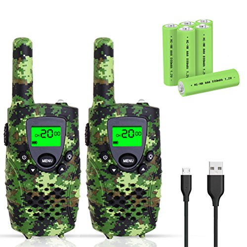 Walkie Talkies for Kids, FAYOGOO 22 Channel Walkie Talkies Two Way Radio 3 Miles (Up to 4 Miles) Long Range Set Mini Walkie Talkies for Kids, Toys for 3 Year Old Up Boys and Girls (Camo Green)