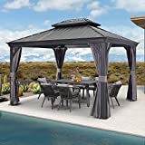 PURPLE LEAF 10' X 12' Permanent Hardtop Gazebo Aluminum Gazebo with Galvanized Steel Double Roof for Patio Lawn and Garden, Curtains and Netting Included