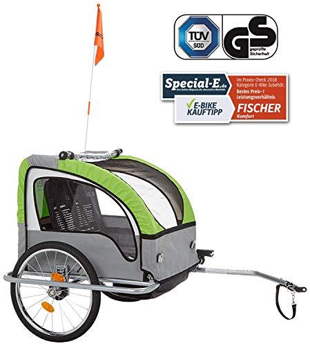 Fischer Kinder Fahrradanhänger Komfort mit Federung TÜV/GS geprüft, grün/anthrazit, Normal
