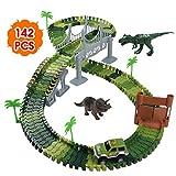 Nuheby Circuit Dinosaure Voiture Flexible Circuit de Voiture Jeu Educatif Creation Enfant pour Cadeau Enfant Garcon Fille 3 4 5 Ans (142Pièces)