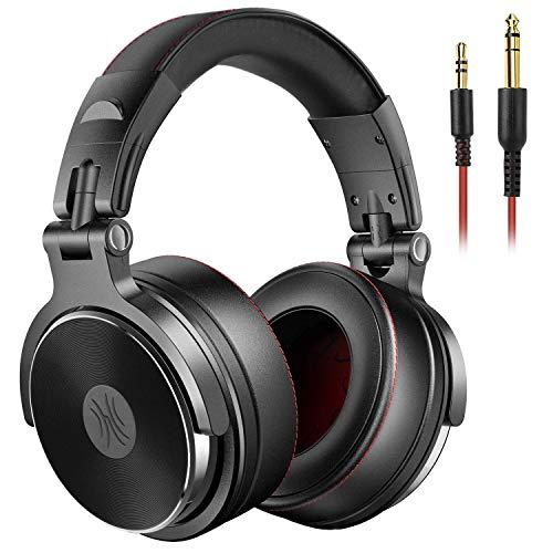 OneOdio Cuffie DJ, Cuffie Studio, Cuffie Over-Ear con microfono, Cuffie chiuse senza adattatore da 6.3 mm e 3.5 mm, Custodia ruotabile a 90 ° e Unità driver 50mm / Protezioni in pelle con protezioni