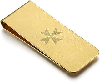 BOBIJOO Jewelry - Clip de Dinero de Acero 316l Cepillado Cruz de Oro Sello de los