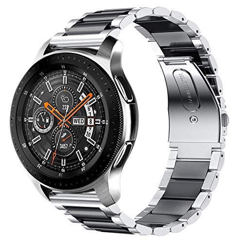 iBazal 22mm Cinturino Metallo Banda Acciaio Compatibile con Samsung Gear S3 Frontier Classic SM-R760,Galaxy Watch 46mm SM-R800,Huawei GT/2 Classic/Honor Magic,TicWatch PRO Uomo Band - Argento/Nero